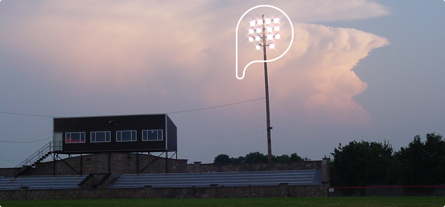 Floodlights used at a sports field